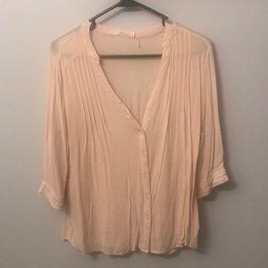 Cream Mid Sleeve Blouse - L